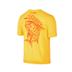 Wildstyle Graffiti Series Yellow T-shirt(back view)Neon Orange: Yellowfin Tuna