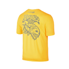 Wildstyle Graffiti Series Yellow T-shirt(back view)Silver: Giant Trevally
