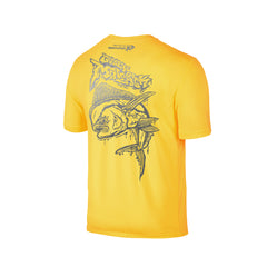 Wildstyle Graffiti Series Yellow T-shirt(back view)Silver: Mahi-mahi