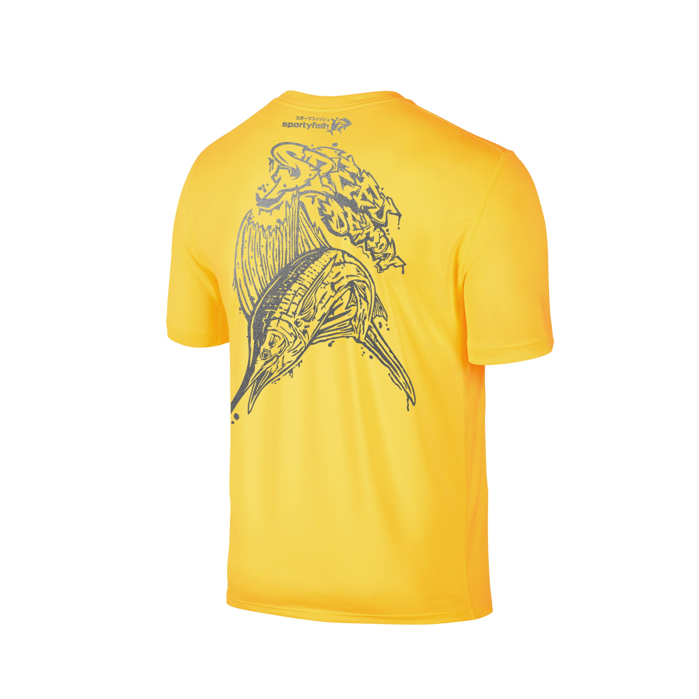 Wildstyle Graffiti Series Yellow T-shirt(back view)Silver: Atlantic Sailfish