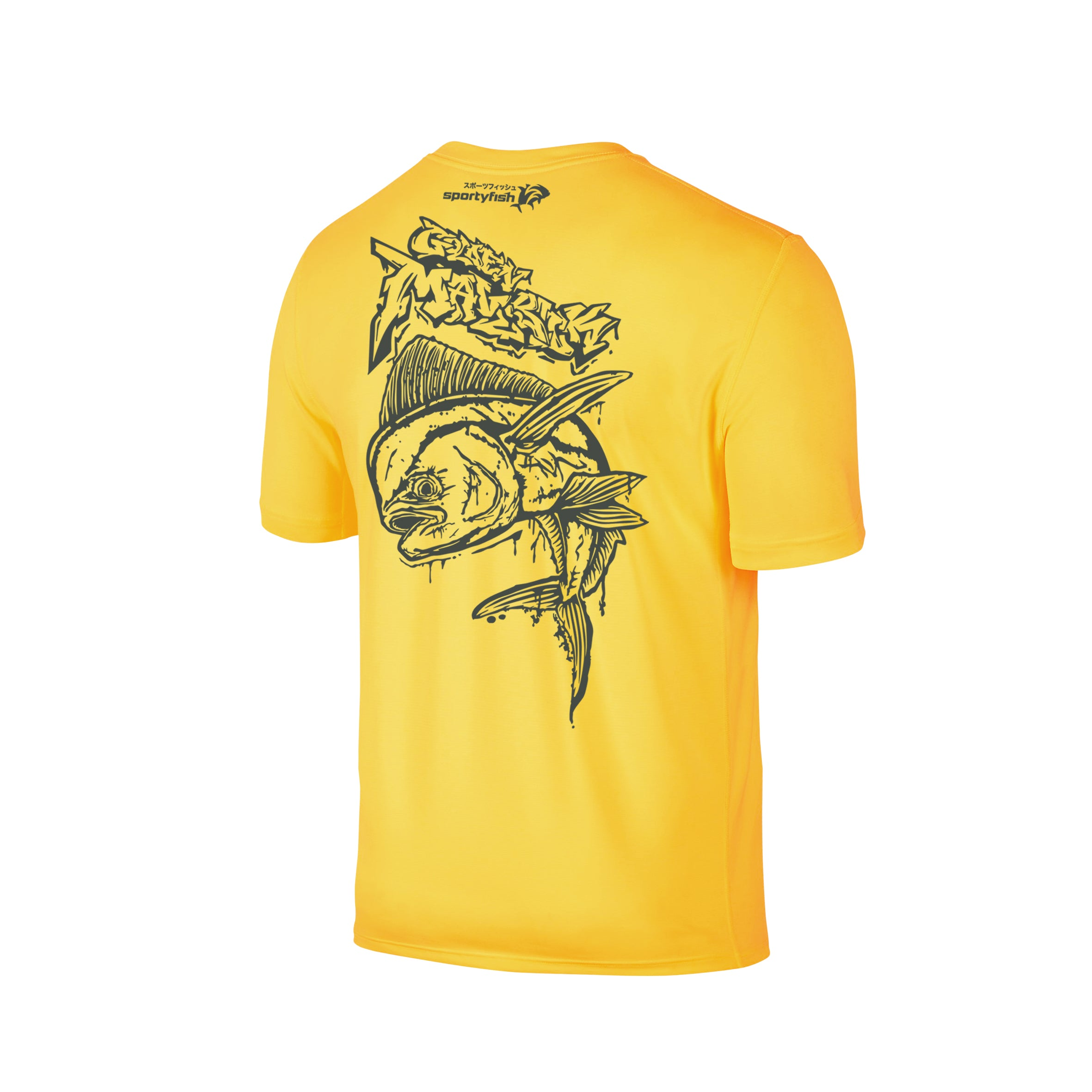 Wildstyle Graffiti Series Yellow T-shirt(back view)Tungsten: Mahi-mahi
