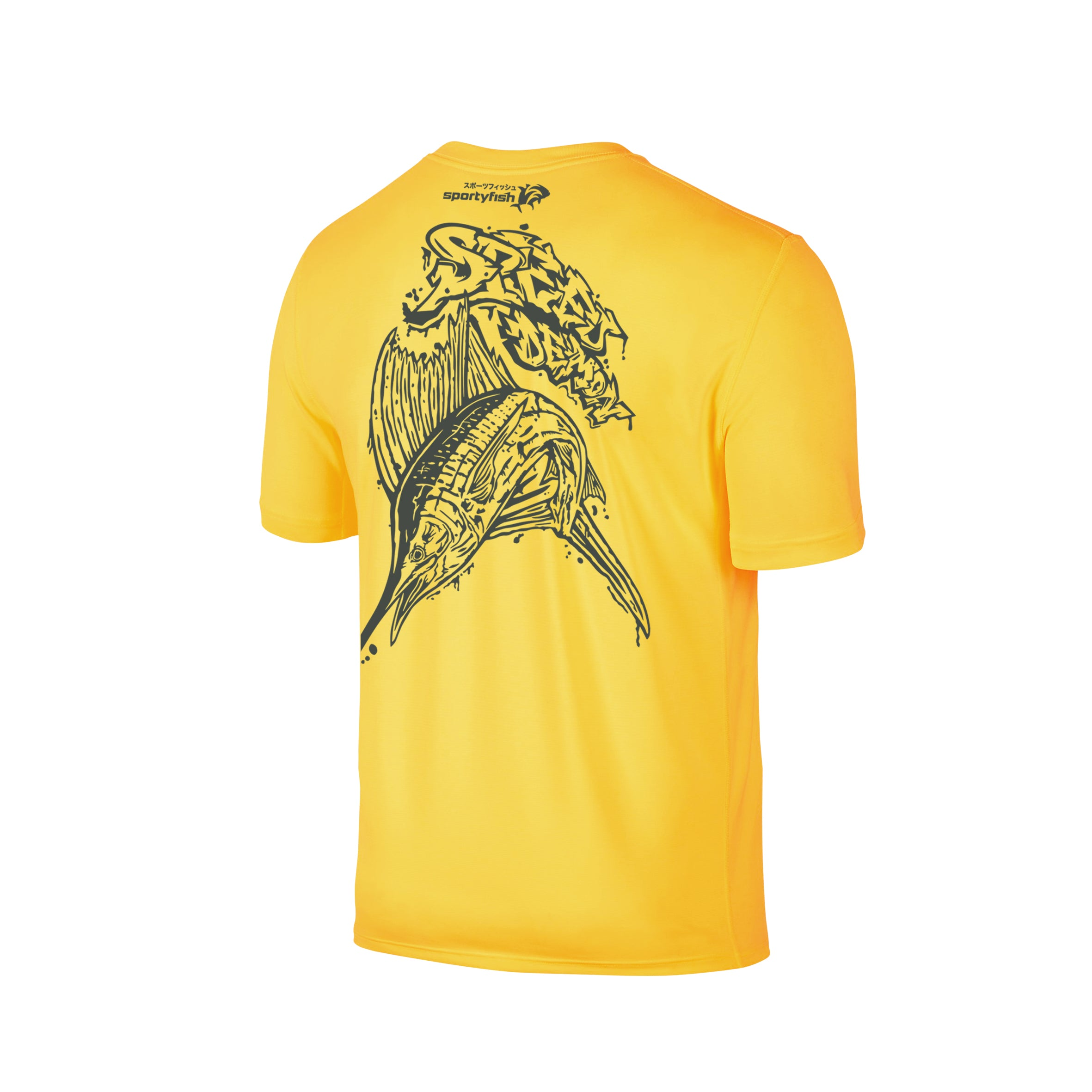 Wildstyle Graffiti Series Yellow T-shirt(back view)Tungsten: Atlantic Sailfish