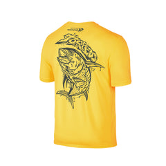 Wildstyle Graffiti Series Yellow T-shirt(back view)Tungsten: Yellowfin Tuna