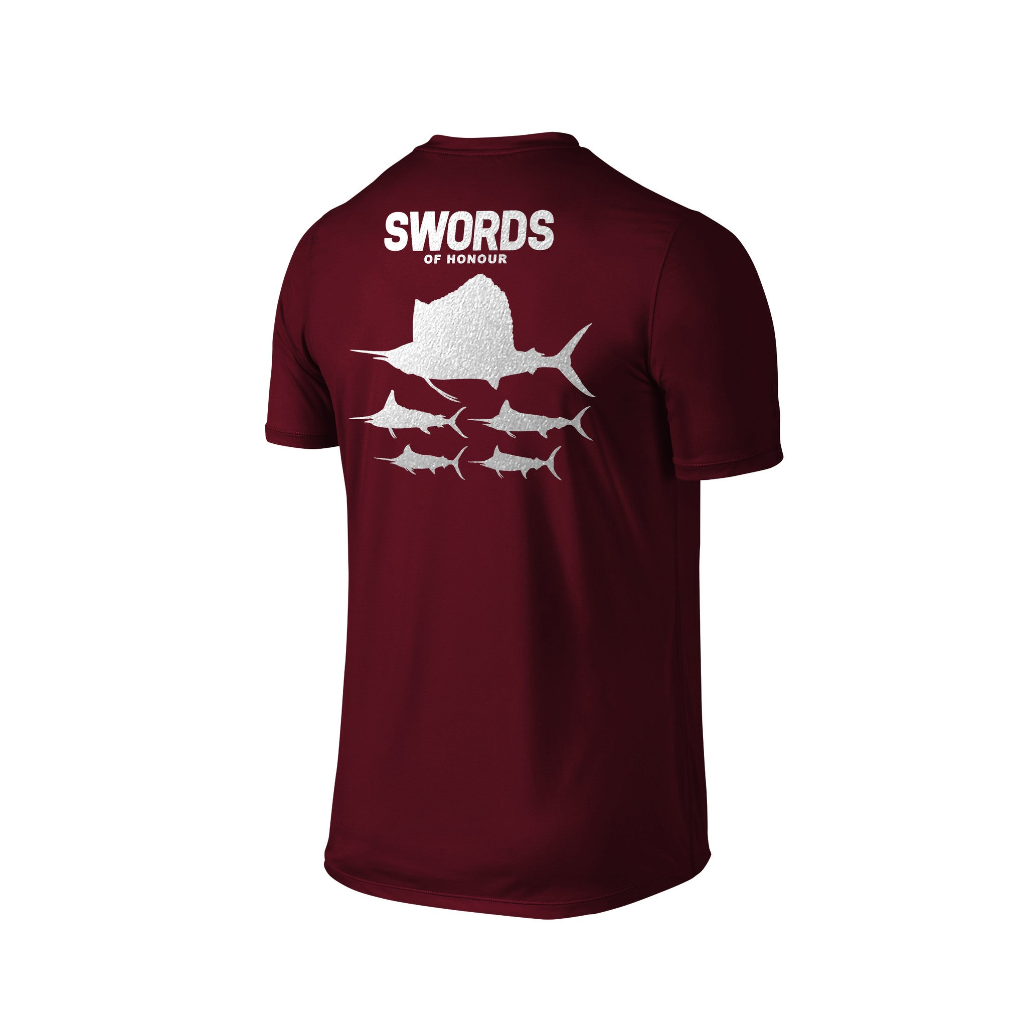 SportyFish Silhouette Series Silver Print Maroon T-shirt(back view): Swords of Honour