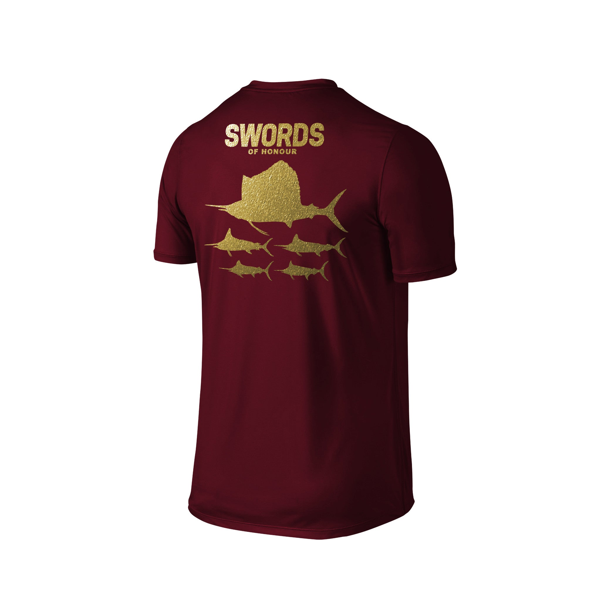 SportyFish Silhouette Series Gold Print Maroon T-shirt(back view): Swords of Honour