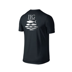 SportyFish Silhouette Series Silver Print Black T-shirt(back view): Jig Masters