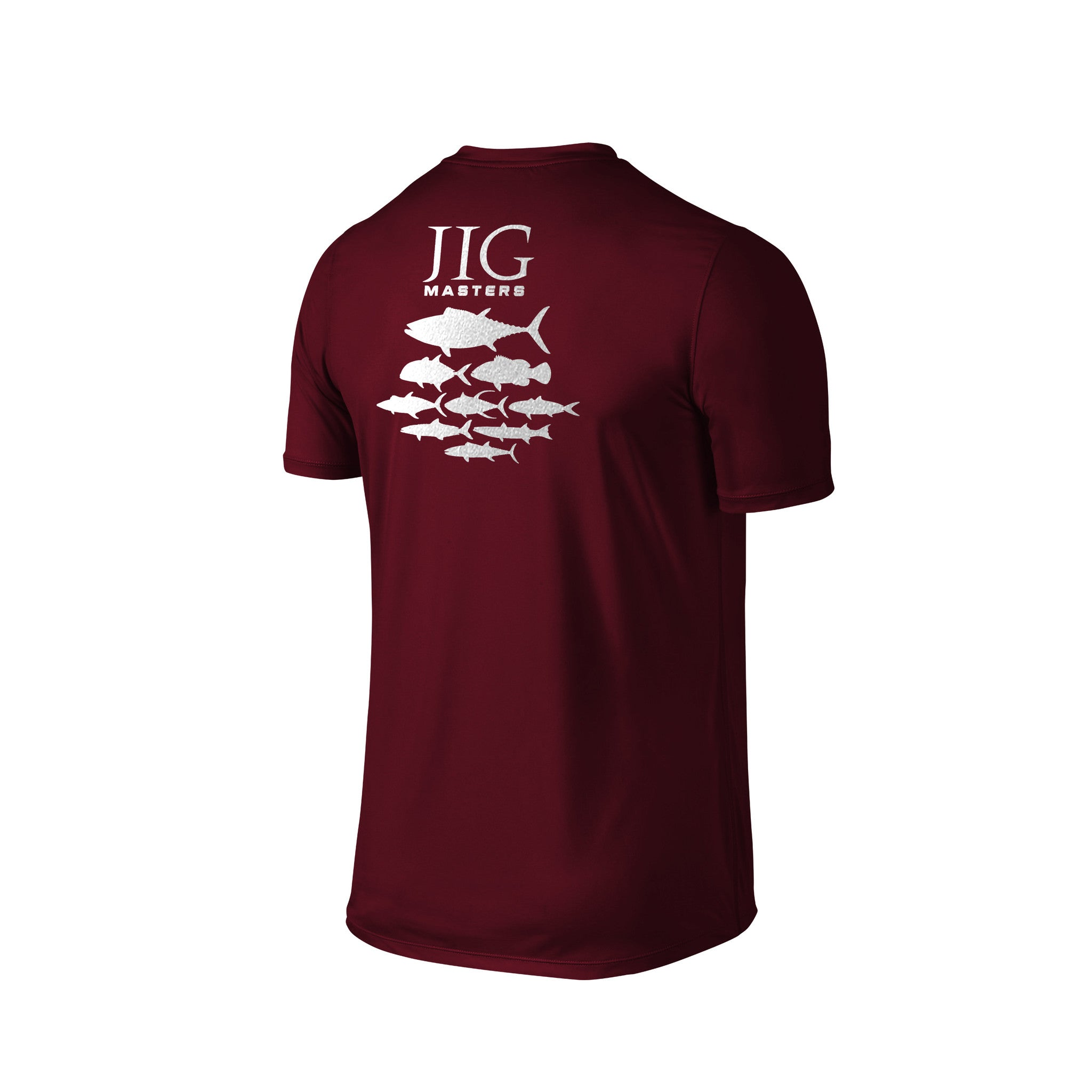 SportyFish Silhouette Series Silver Print Maroon T-shirt(back view): Jig Masters