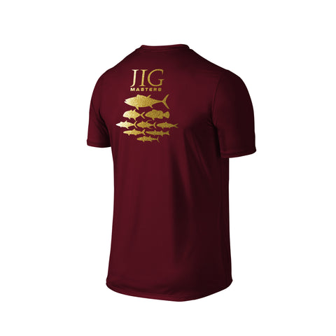 SportyFish Silhouette Series Gold print Maroon T-shirt: Jig Masters back view