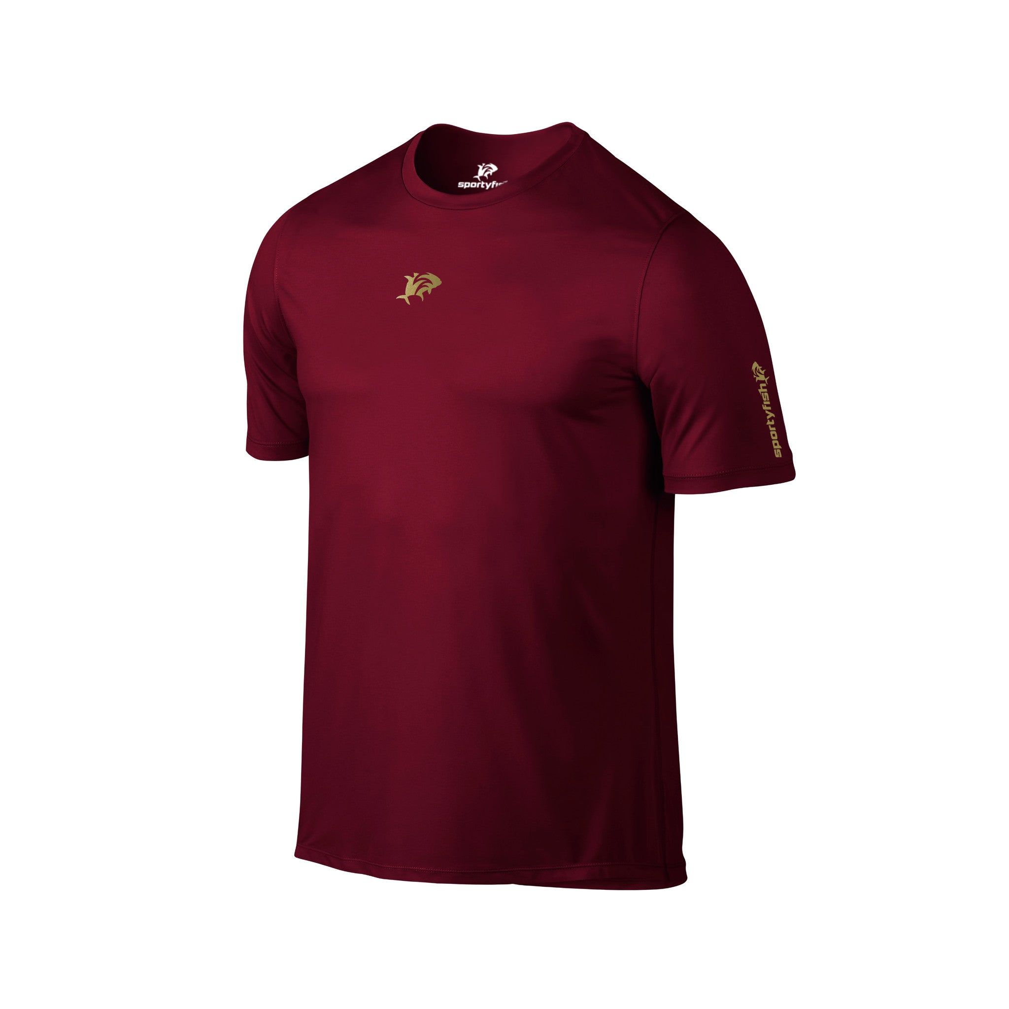 SportyFish Silhouette Series Gold print Maroon T-shirt: Jig Masters front view