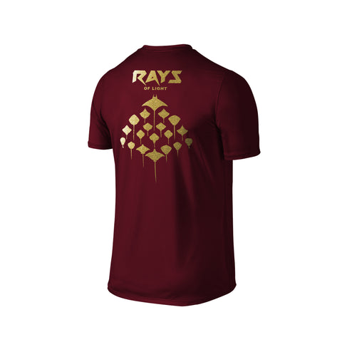 SportyFish Silhouette Series Gold Print Maroon T-shirt(back view): Rays of Light
