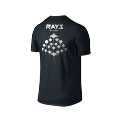 SportyFish Silhouette Series Silver Print Black T-shirt(back view): Rays of Light
