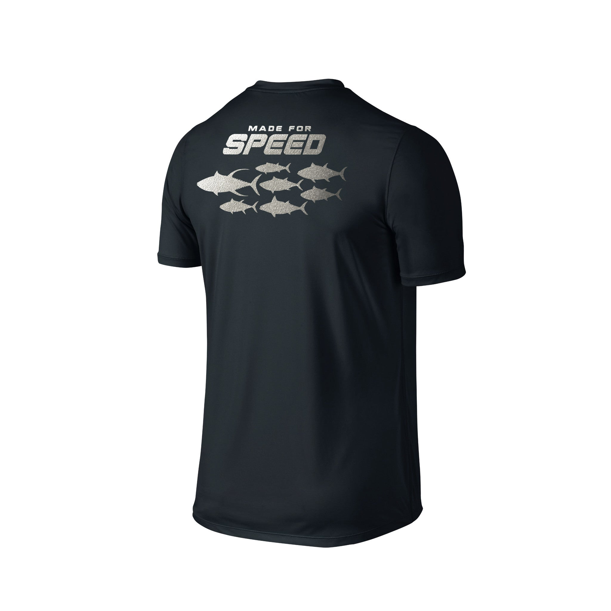 SportyFish Silhouette Series Silver print Black T-shirt: Made for Speed back view