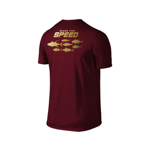 SportyFish Silhouette Series Gold Print Maroon T-shirt(back view): Made for Speed
