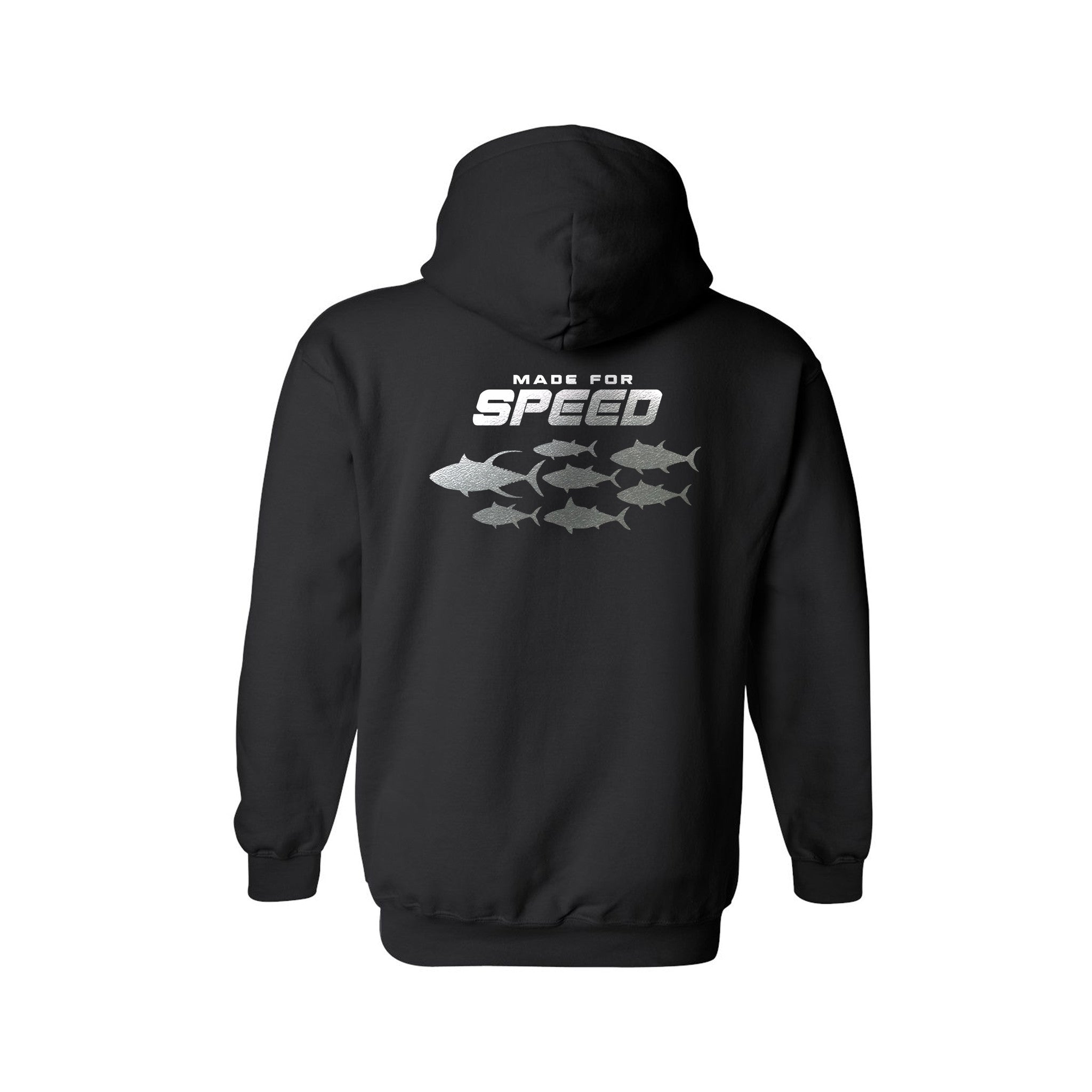 SportyFish Silhouette Series Silver Print Black Hoodie: Made for Speed