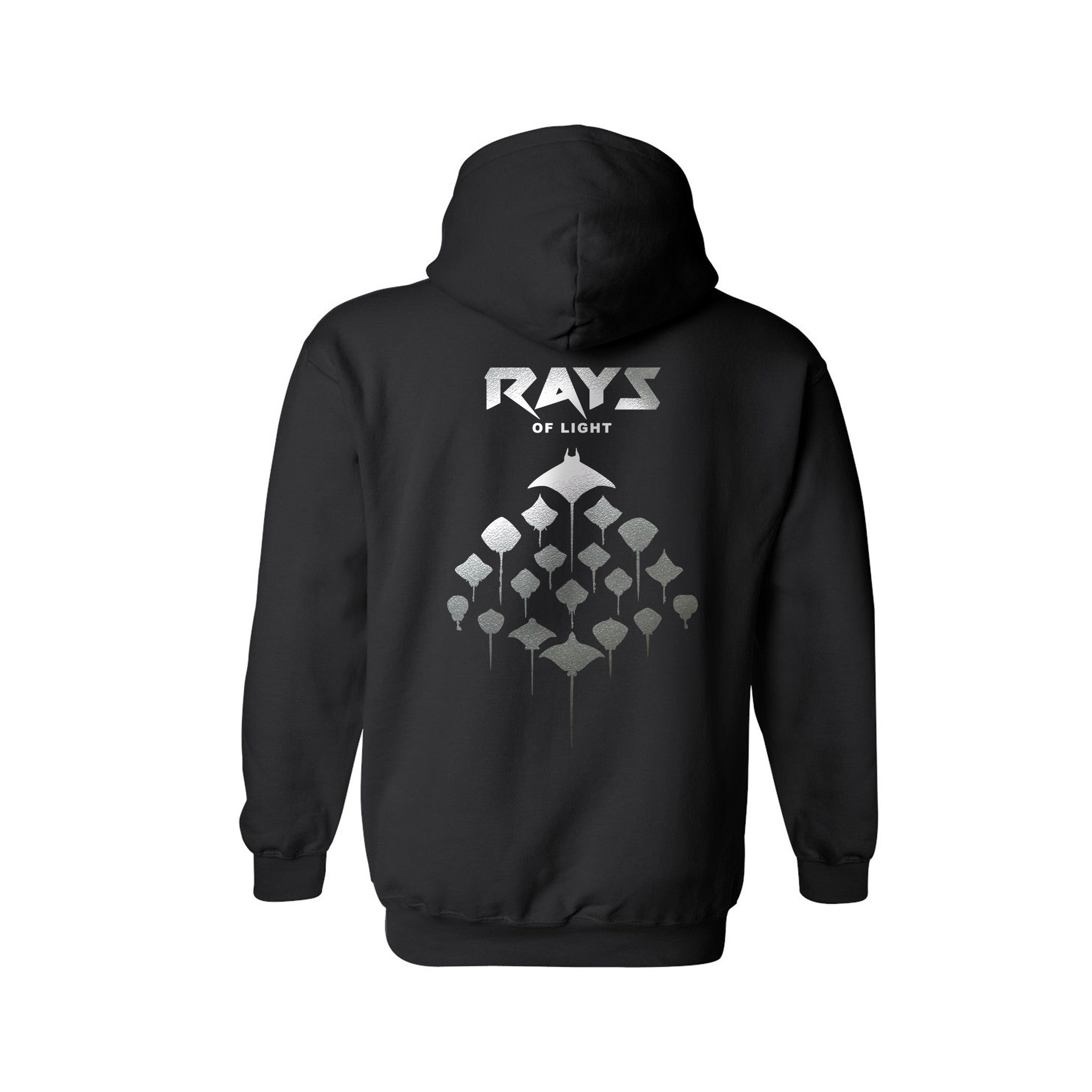 SportyFish Silhouette Series Silver Print Black hoodie: Rays of Light