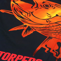SportyFish Fury Series Board Shorts: Yellowfin Tuna close-up view