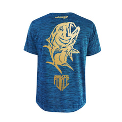 SportyFish Shield Series Turquoise T-shirt(back view) Gold Print: Giant Trevally