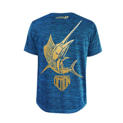 SportyFish Shield Series Turquoise T-shirt(back view) Gold Print: Yellowfin Tuna