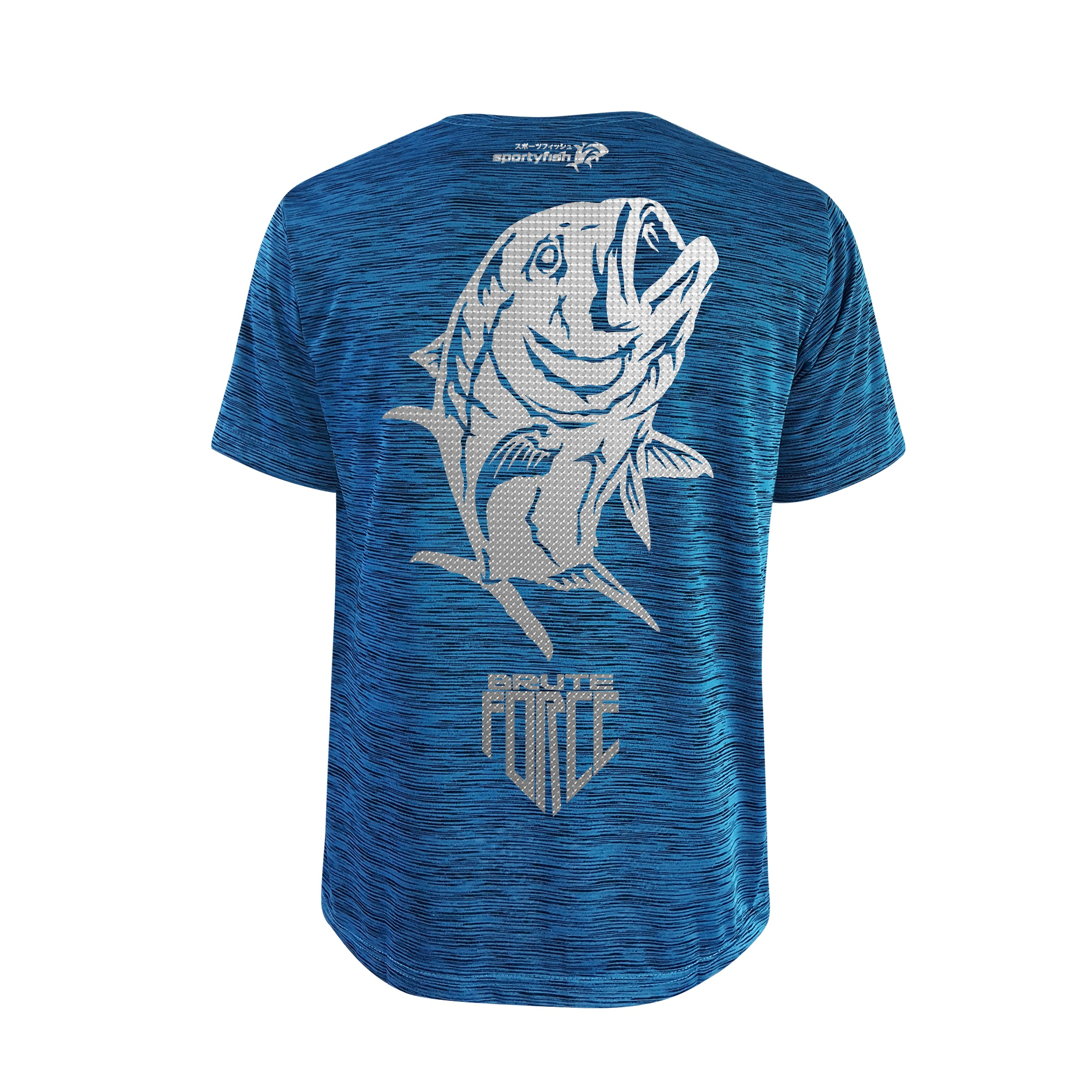 SportyFish Shield Series Turquoise T-shirt(back view) Silver Print: Giant Trevally