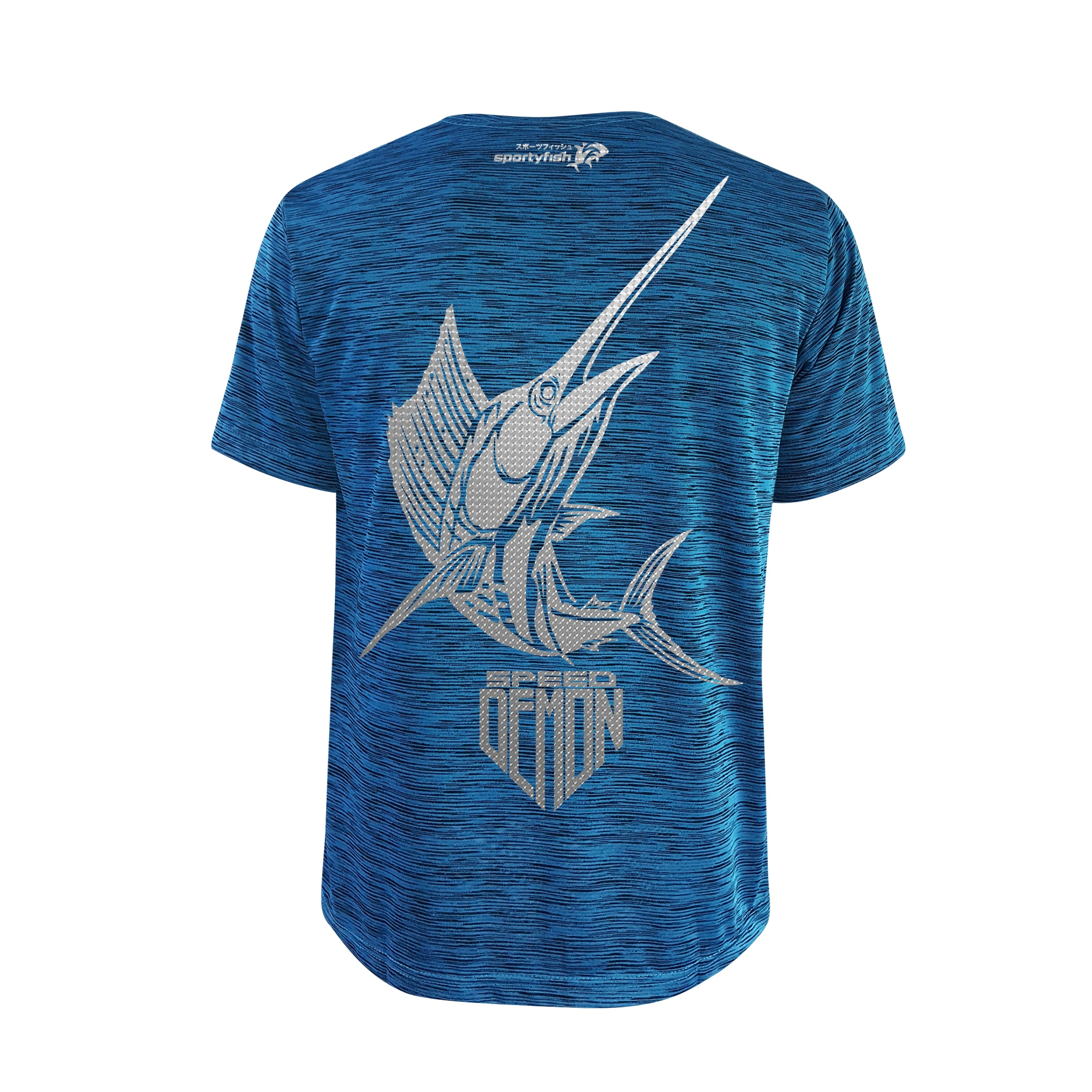 SportyFish Shield Series Turquoise T-shirt(back view) Silver Print: Atlantic Sailfish
