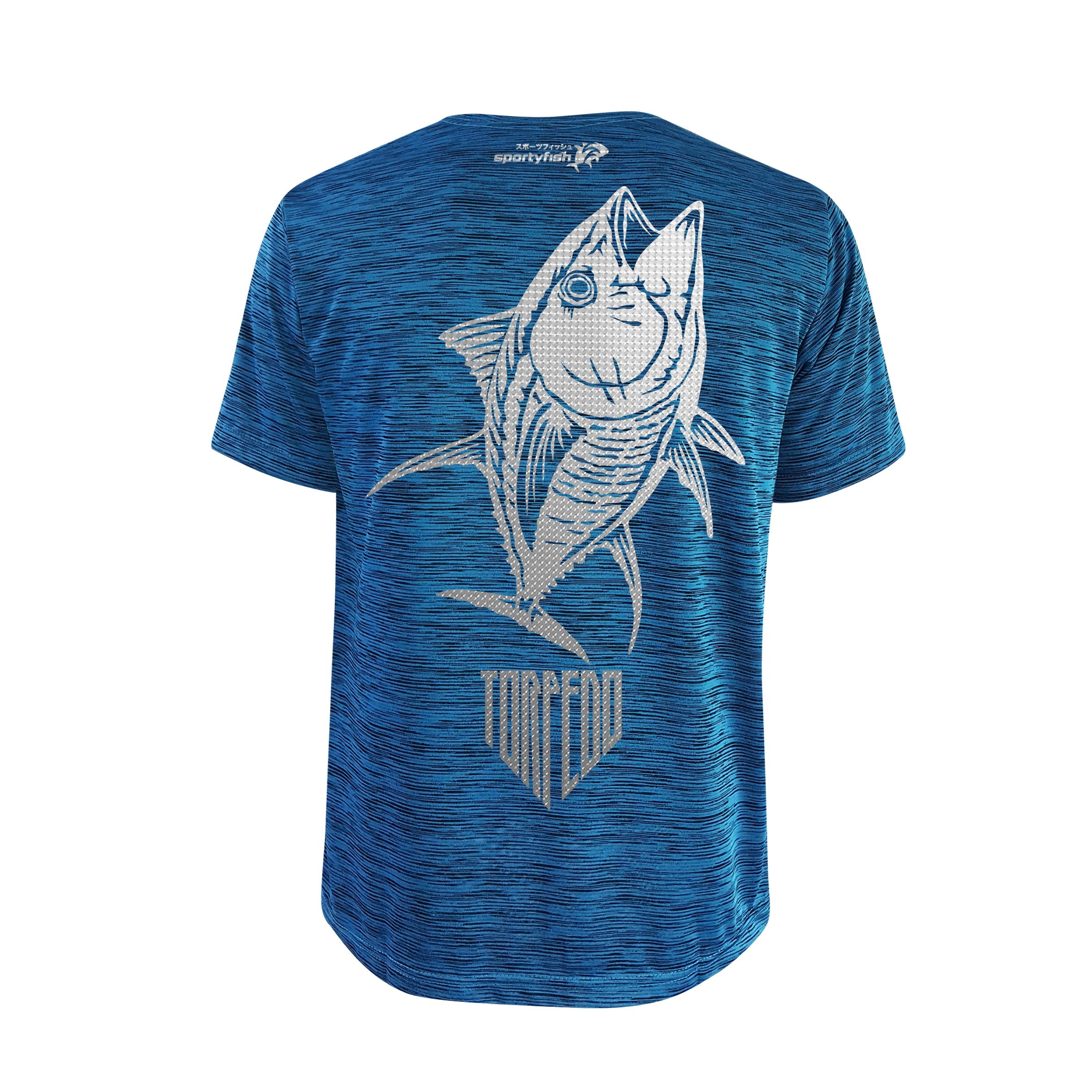 SportyFish Shield Series Turquoise T-shirt(back view) Silver Print: Yellowfin Tuna