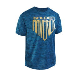 SportyFish Shield Series Turquoise T-shirt(front view) Gold Print: Mahi Mahi
