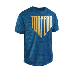SportyFish Shield Series Turquoise T-shirt(front view) Gold Print: Yellowfin Tuna