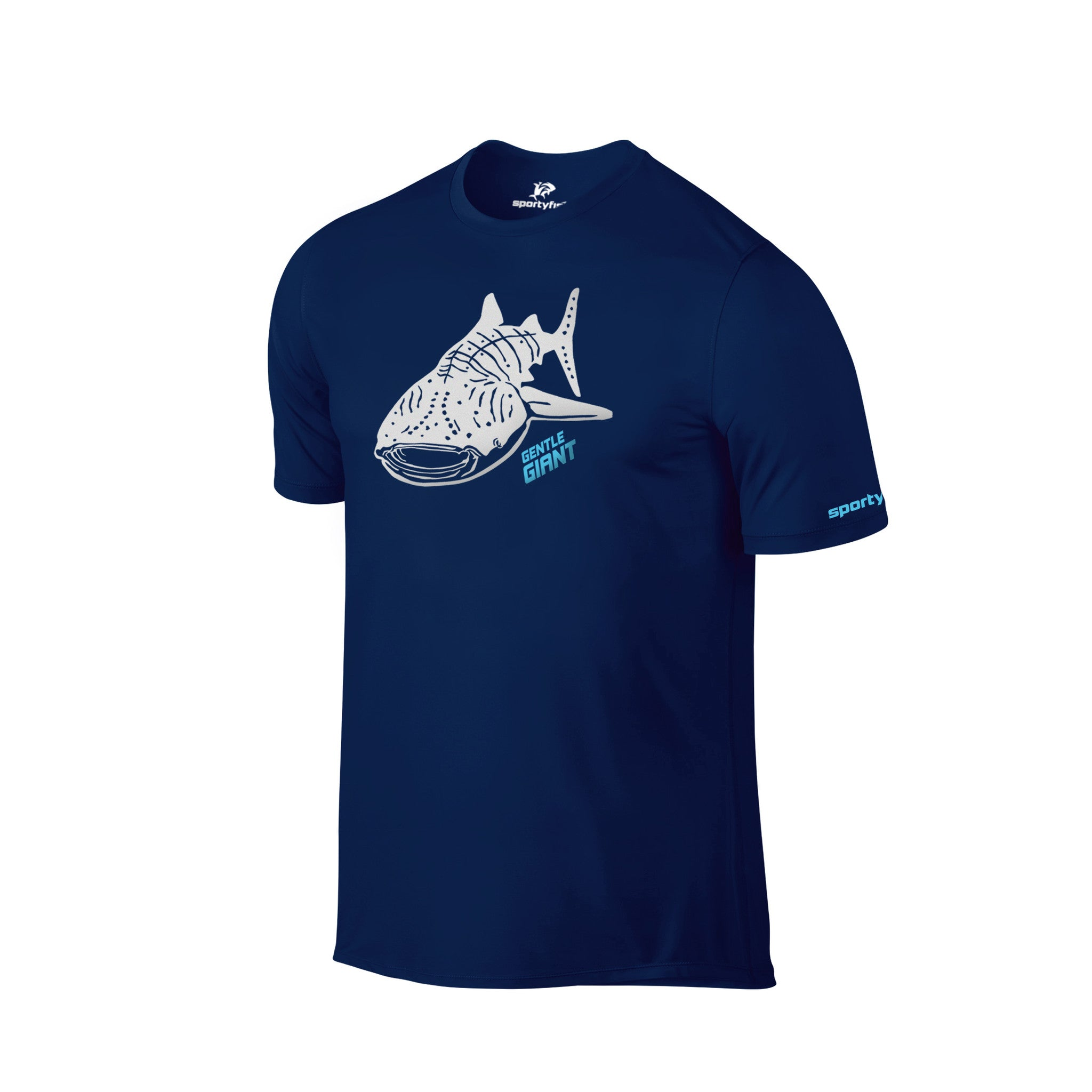 SportyFish Shark Crusader Series Navy Blue T-shirt(front view): Whale Shark