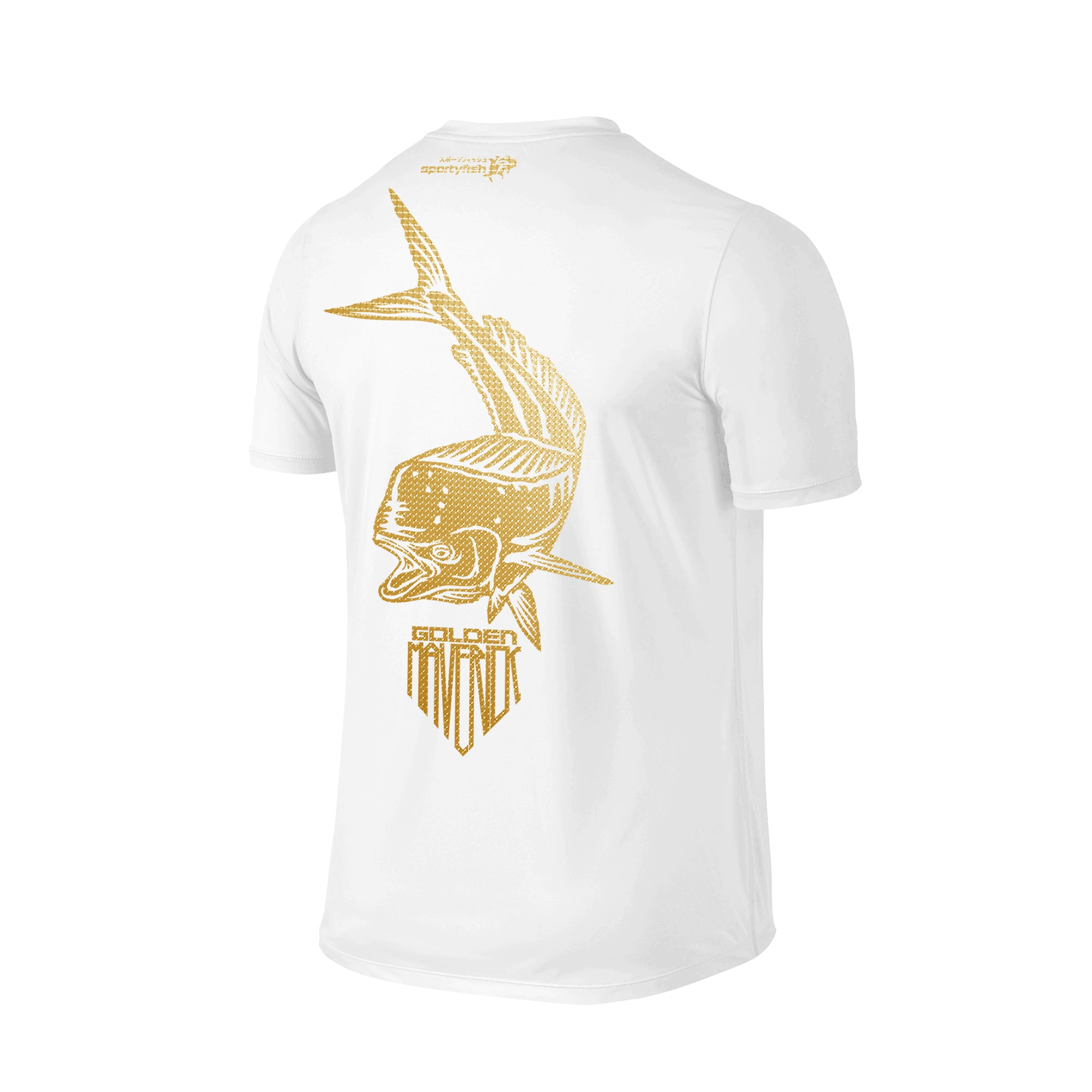 SportyFish Shield Series Classic White T-shirt(back view) Gold Print: Mahi Mahi