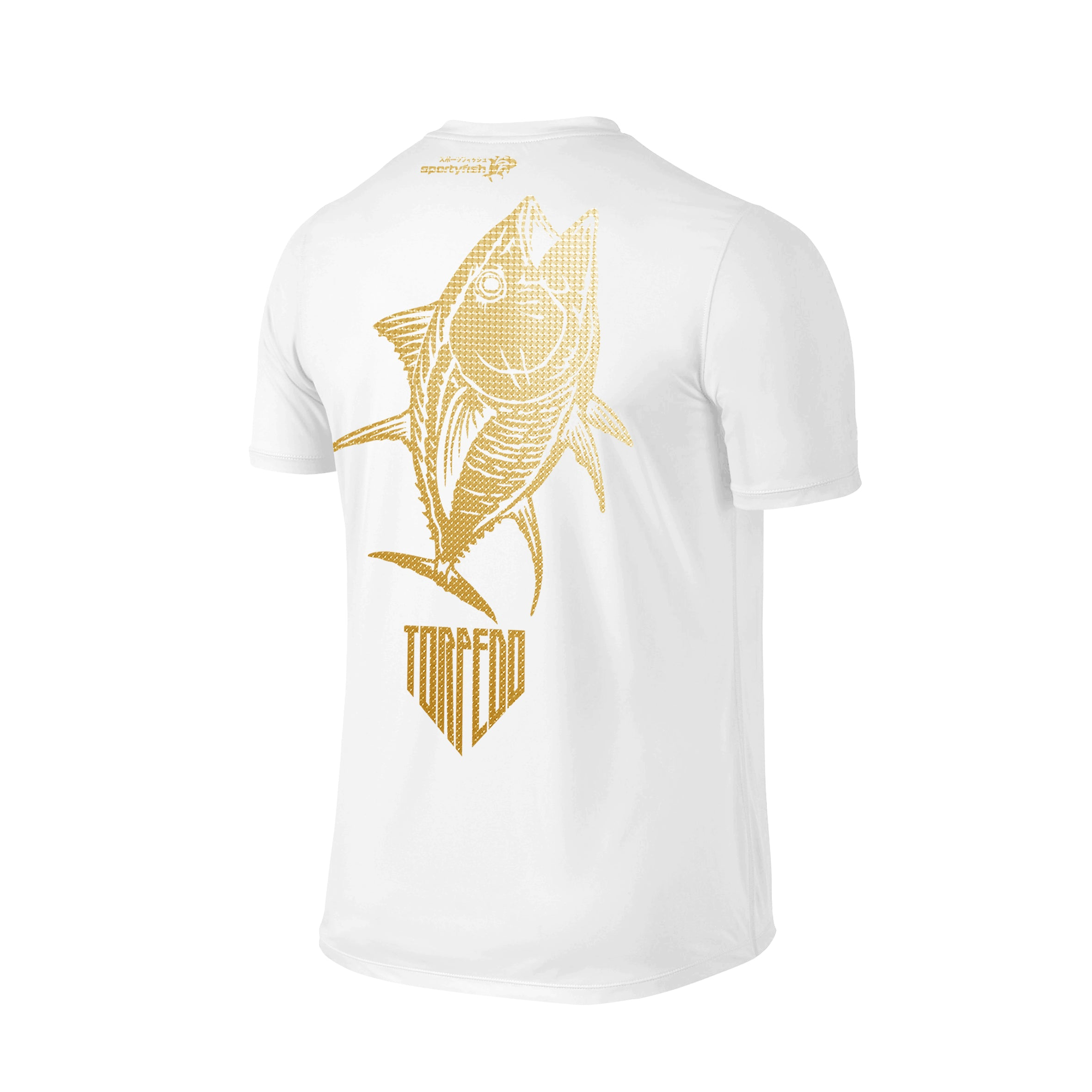 SportyFish Shield Series Classic White T-shirt(back view) Gold Print: Yellowfin Tuna