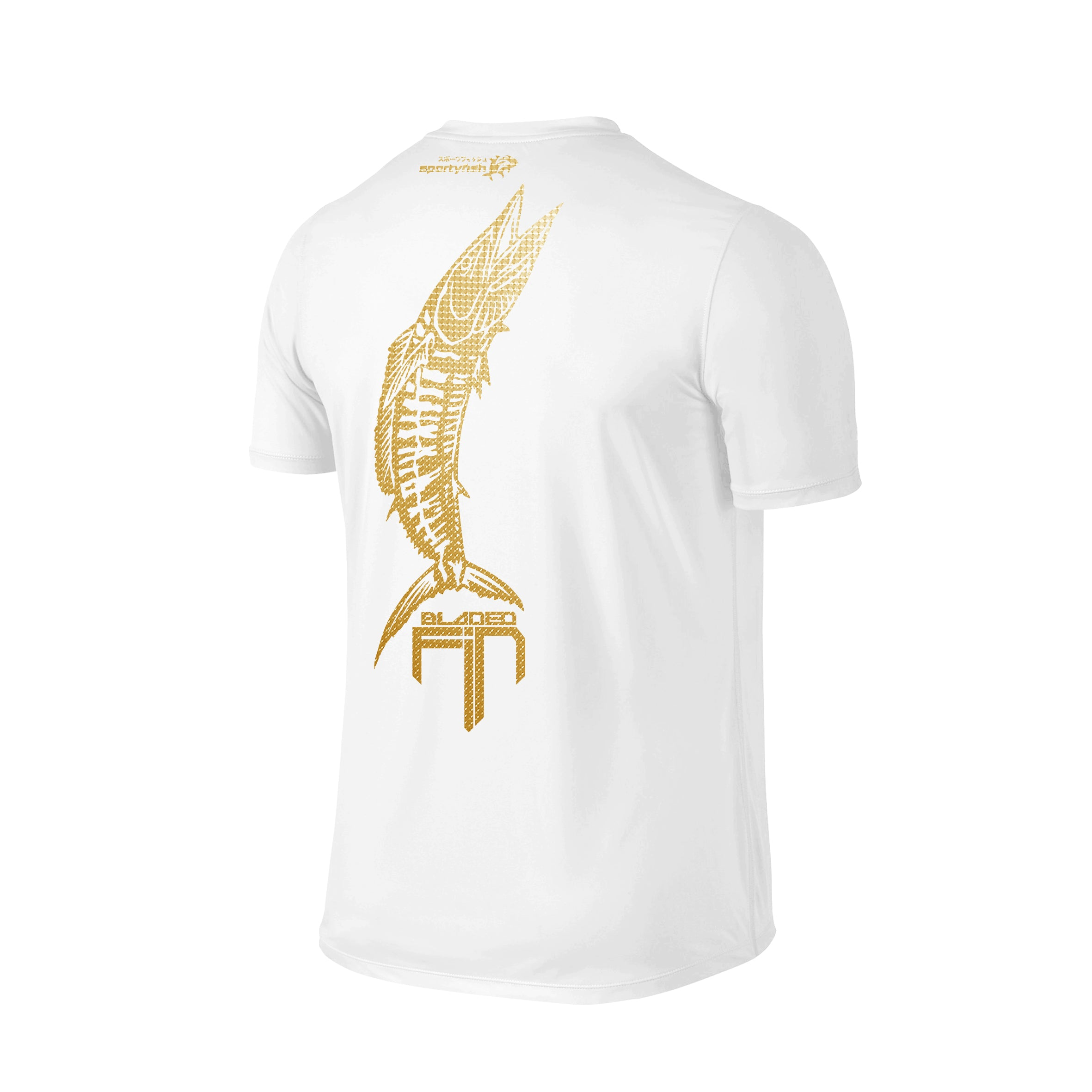 SportyFish Shield Series Classic White T-shirt(back view) Gold Print: Wahoo