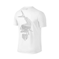 SportyFish Shield Series Classic White T-shirt(back view) Silver Print: Mahi Mahi