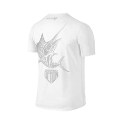 SportyFish Shield Series Classic White T-shirt(back view) Silver Print: Atlantic Sailfish