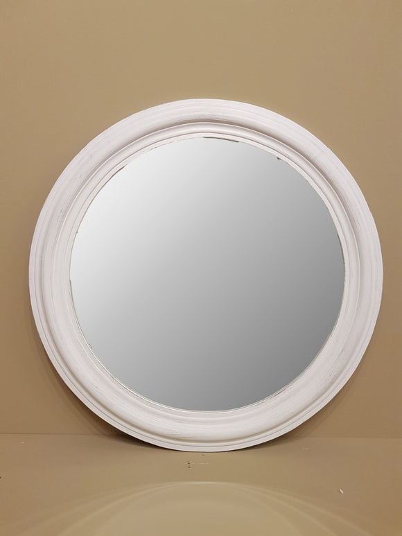 Brush Grey Round Mirror