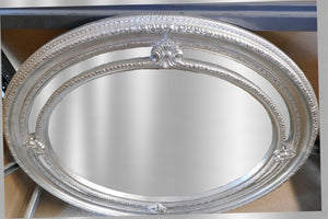 Oval Framed Silver Mirror