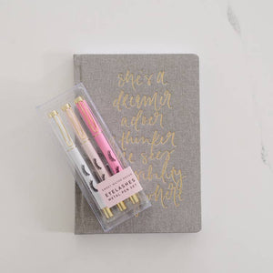 Eyelashes pen set pink white gold