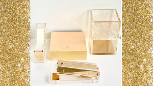 acrylic desk accessories gold  tape dispenser stapler pen holder notepad