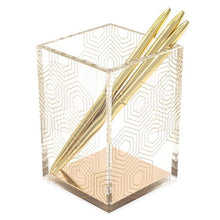 Load image into Gallery viewer, Acrylic and gold pen holder with gold pens