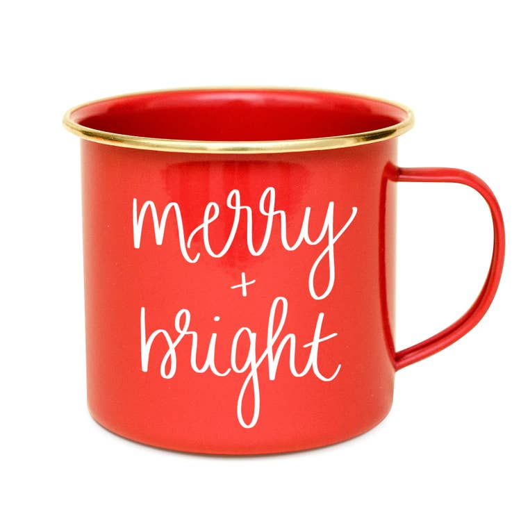Red christmas mug merry and bright gold