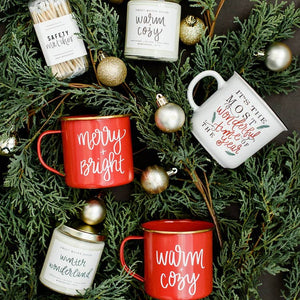 christmas mugs and candles