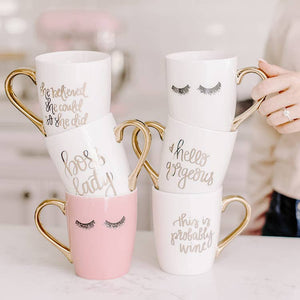 coffee mug set white pink gold