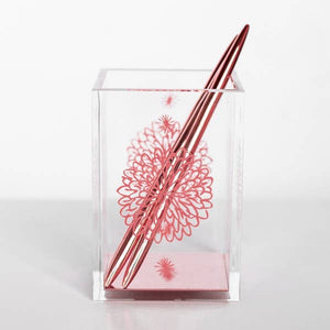 Acrylic and rose gold pen holder