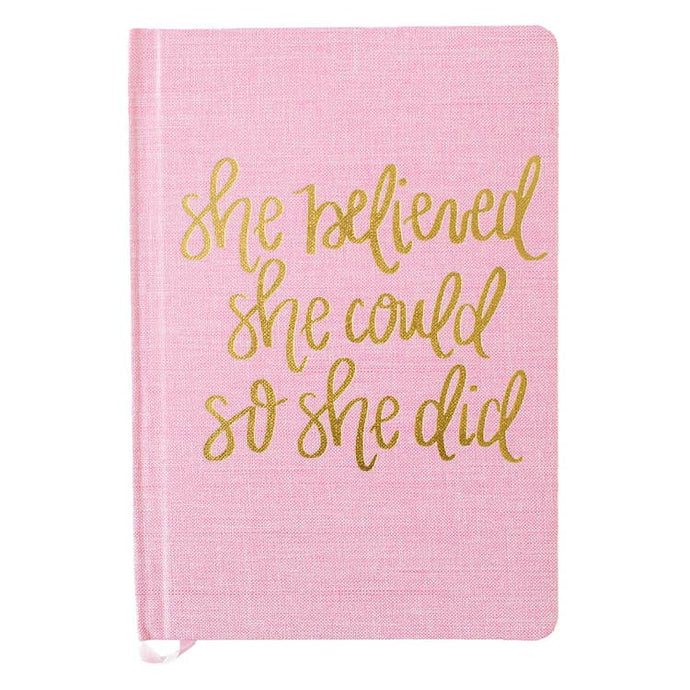 Pink cloth journal with gold lettering made in the USA hustle and swag