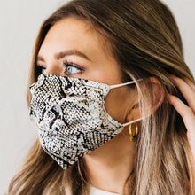 Load image into Gallery viewer, Snakeskin & Black Satin Face Mask