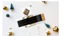 Load image into Gallery viewer, Black Pencil set with gold sharpener stocking stuffers cute gifts