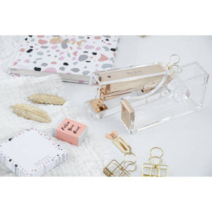 Acrylic desk accessories stapler tape dispenser notepads