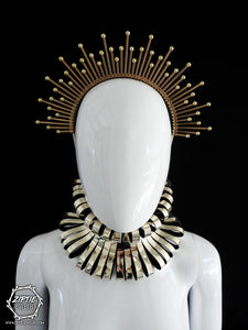 Gold Beaded Halo Crown or Gold Neckpiece