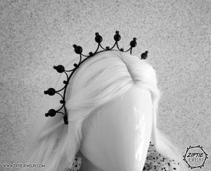 Minimalist Beaded Black Crown