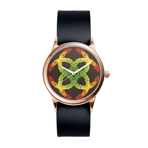 Rose Color Leaves Watch