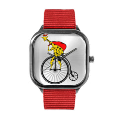 Christmas Giraffe on a Bike Watch